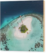Aerial Drone View Of A Tropical Island, Maldives Wood Print