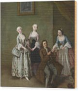 An Interior With Three Women And A Seated Man  Wood Print