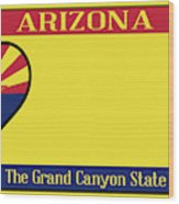Arizona State License Plate Wood Print
