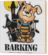 Barking Spider Halloween Design For Dog Lovers Light Wood Print