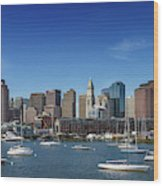 Boston Skyline North End And Financial District Wood Print