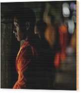 Buddhist Monks At Angkor Wat Temple Wood Print