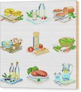 Close-up Of Food Stuff Wood Print