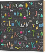 Cute Alphabet. Letters And Words. Learn Wood Print