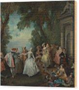 Dance Before A Fountain Wood Print