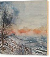 Digital Watercolor Painting Of Beautiful Winter Landscape At Vib Wood Print