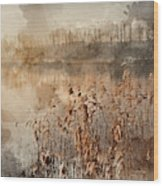 Digital Watercolor Painting Of Landscape Of Lake In Mist With Su Wood Print