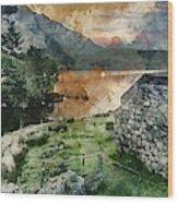 Digital Watercolor Painting Of Panorama Landscape Stunning Sunri Wood Print