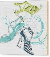 Feminine Shoes Wood Print