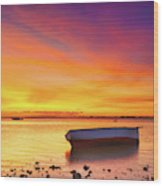 Fishing Boat At Sunset Time Wood Print