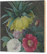 Four Peonies And A Crown Imperial  Wood Print