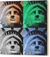 Lady Liberty In Quad Colors Wood Print