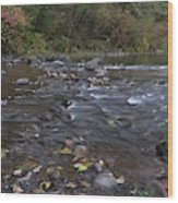 Long Exposure Photographs Of Rolling River With Fall Foliage Wood Print