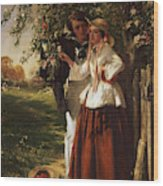 Lovers Under A Blossom Tree Wood Print