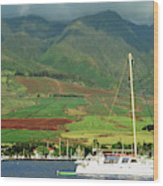 Maui Sunset Sail Wood Print