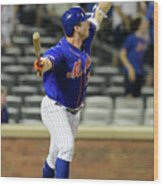Miami Marlins V New York Mets - Game Two 2 Wood Print