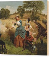 Mrs  Schuyler Burning Her Wheat Fields On The Approach Of The British  Wood Print