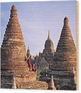 Myanmar, Bagan, Buddhist Monks On Temple Wood Print