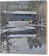 New England College Covered Bridge Wood Print