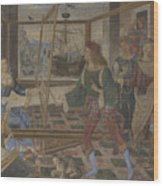 Penelope With The Suitors  Wood Print