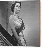Queen Elizabeth II Portrait Wood Print