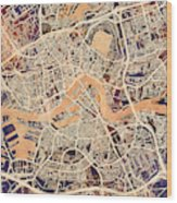 Rotterdam Netherlands City Map Wood Print