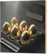 Six Golden Eggs In An Egg Carton Wood Print