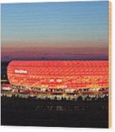 Soccer Stadium Lit Up At Dusk, Allianz Wood Print