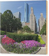 Summer Flowers In Bloom, Millennium Park, Chicago City Center, I Wood Print