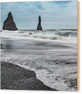 The Dramatic Black Sand Beach Of Reynisfjara. Wood Print