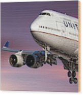 United Airlines Boeing 747-422 Wood Print
