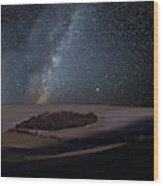 Vibrant Milky Way Composite Image Over Landscape Of Countryside  Wood Print