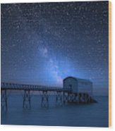 Vibrant Milky Way Composite Image Over Landscape Of Long Exposur Wood Print