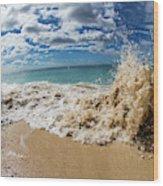 View Of Surf On The Beach, Hawaii, Usa Wood Print