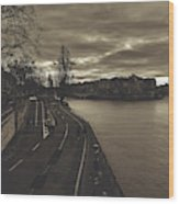 Walking Along The Seine At Sunset Wood Print
