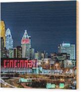 2014 Cincinnati, Ohio Night Skyline Wood Print