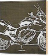 2016 Bmw K1600gt Blueprint, Original Motorcyclkes Blueprints, Bmw Artworks, Vintage Brown Background Wood Print