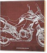 2018 Kawasaki Versys 1000 Lt Abs Blueprint Old Vintage Red Background Original Artwork Wood Print