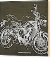 2018 Triumph Street Triple R Blueprint, Vintage Brown Background,gift For Him Wood Print