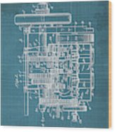 Motor Vehicle Patent Colored Vintage Art Print Year 1905 Blueprint 22 Wood Print