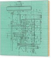 Motor Vehicle Patent Colored Vintage Art Print Year 1905 Blueprint Wood Print
