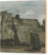 A Peasant Woman Digging In Front Of Her Cottage Wood Print