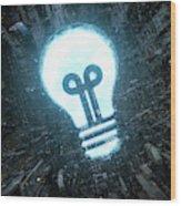 Blue Sky Light Bulb Shining In Bleak Wood Print