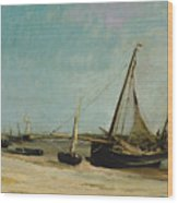 Boats On The Seacoast At Etaples  Wood Print