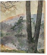 Digital Watercolor Painting Of Beautiful Landscape Image Of Tarn Wood Print