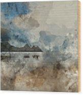 Digital Watercolor Painting Of Beautiful Summer Sunrise Landscap Wood Print