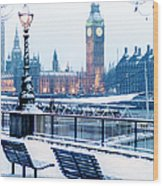 Houses Of Parliament In The Snow Wood Print