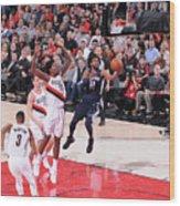 Memphis Grizzlies V Portland Trail Wood Print