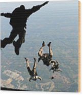 Navy Seals Jump From The Ramp Of A C-17 Wood Print