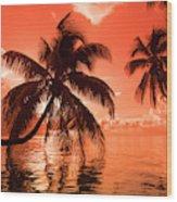 Palm Trees At Sunset, Moorea, Tahiti Wood Print